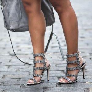 Schutz sexy Paloma caged stiletto heels in oyester